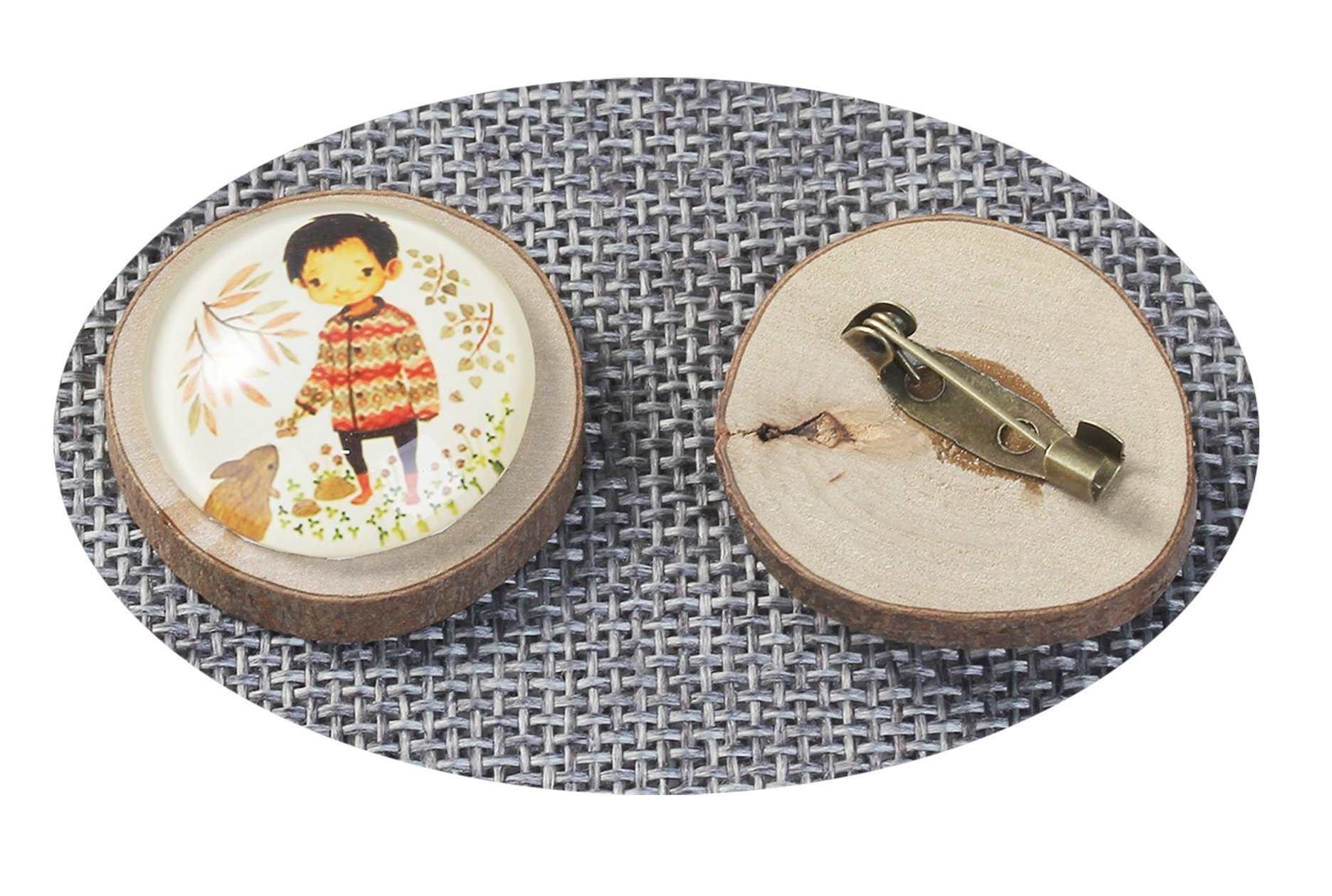 Best Wing Jewelry ''Boy /w Rabbit Glass Cabochon'' on Natural Wood Pin Brooch