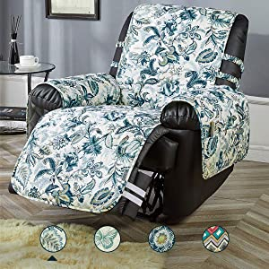 """STONECREST Recliner Cover, Water Resistant Print Recliner Slipcover, Washable Furniture Protector for Pets, Seat Width Up to 28 Inches with Straps(Elegant Blues, Recliner 28"""")"""