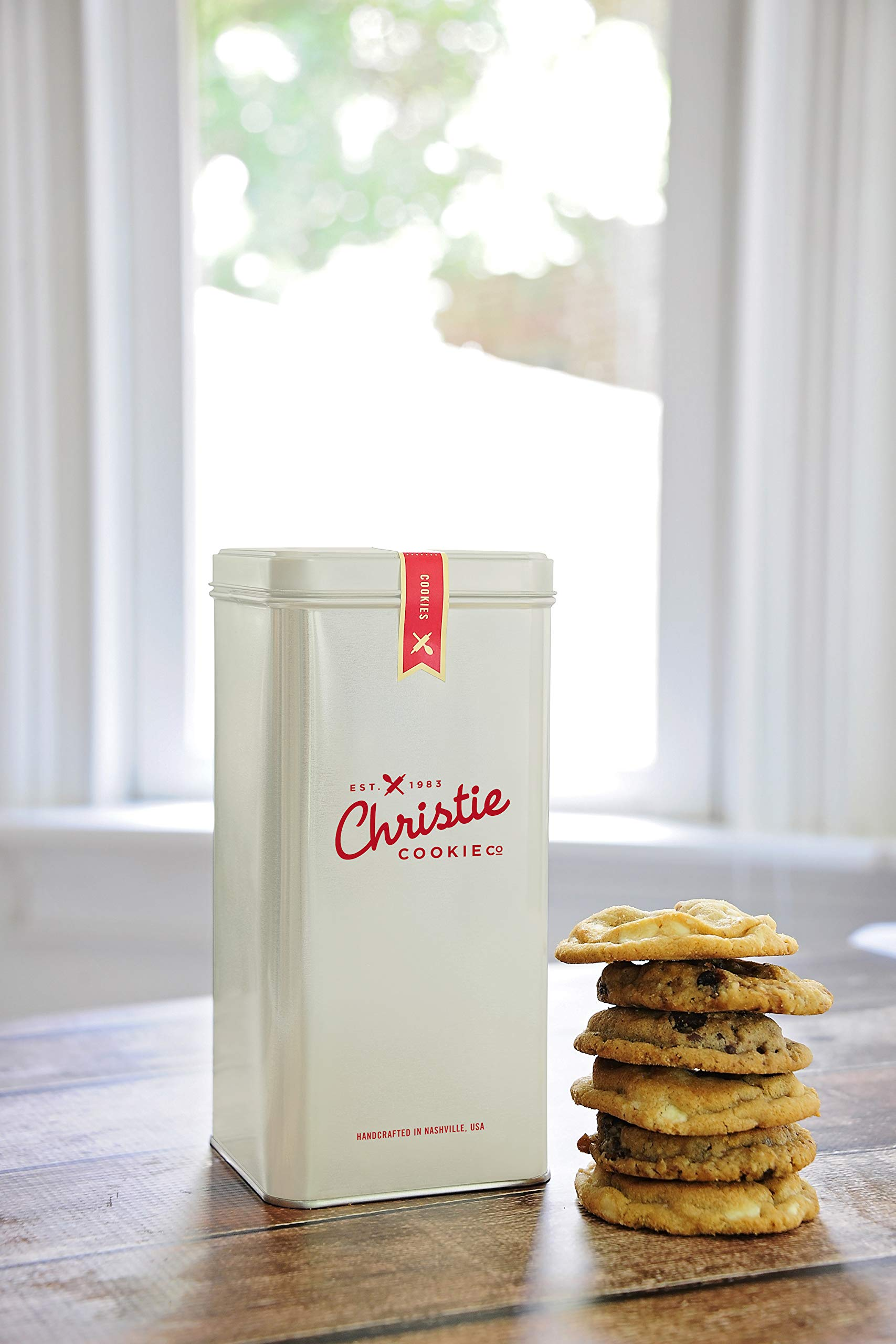 Christie Cookies, Gourmet Assorted Cookies, 12 Fresh-Baked Cookies in Cream Tin, No Added Preservatives, 100% Real Butter, Holiday & Corporate Gift Tin, Birthday Gift Idea for Men & Women by Christie Cookie Co. (Image #1)