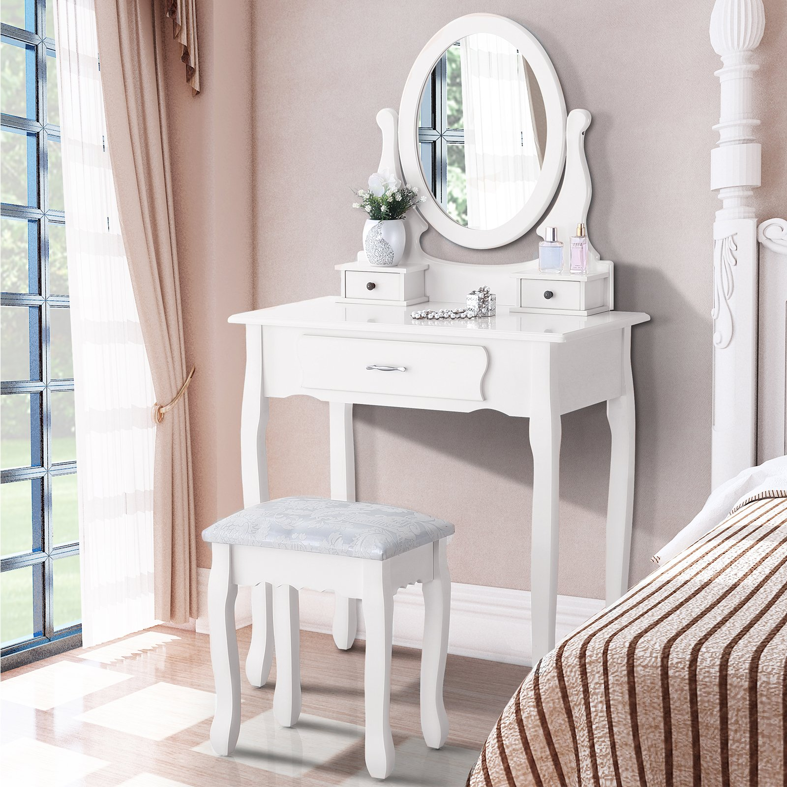 Mecor Makeup Vanity Sets with Oval Mirror, Wood Dressing Table w/Cushioned Stool ,3 Drawers Girls Women Bedroom Makeup Table White by mecor