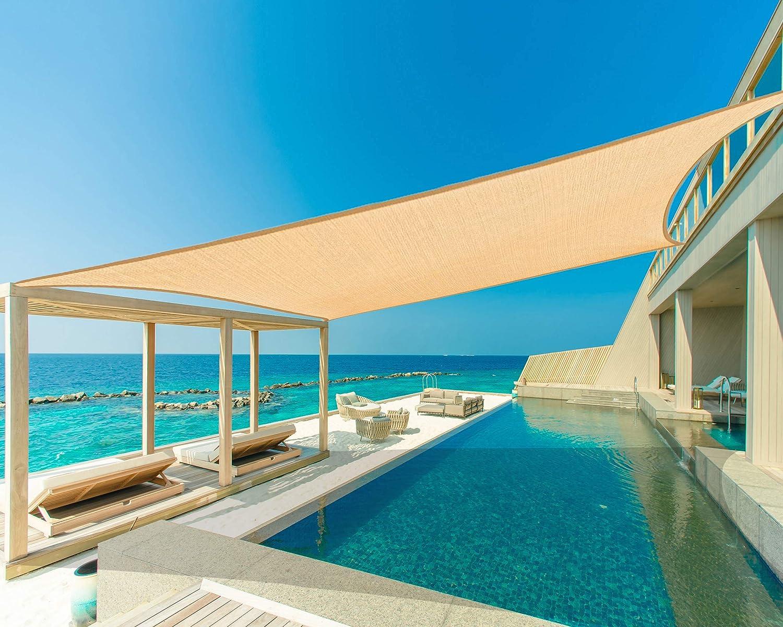 Garden EXPERT 23'x23' Sun Shade Sail Big Square Canopy Shade Cover UV Block for Patio Garden Outdoor Backyard, Sand