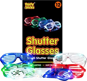 PartySticks LED Light Up Glasses - 12pk Neon Flashing Shutter Glasses, Glow in The Dark Party Supplies with 3 LED Settings