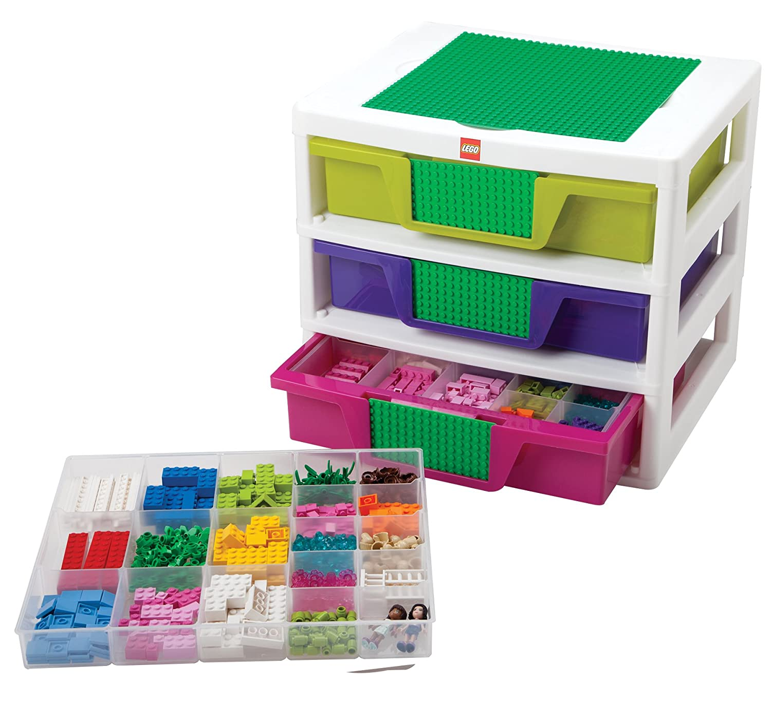 Amazon.com: IRIS LEGO Friends 3 Drawer Sorting System With Large Building  Base Plate And 4 Removable Divider Trays: Home U0026 Kitchen