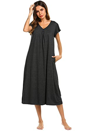 5df7d1987c24 Ekouaer Womens Long Nightgown Short Sleeve V Neck Full Length  Nightshirt,Grey,Small