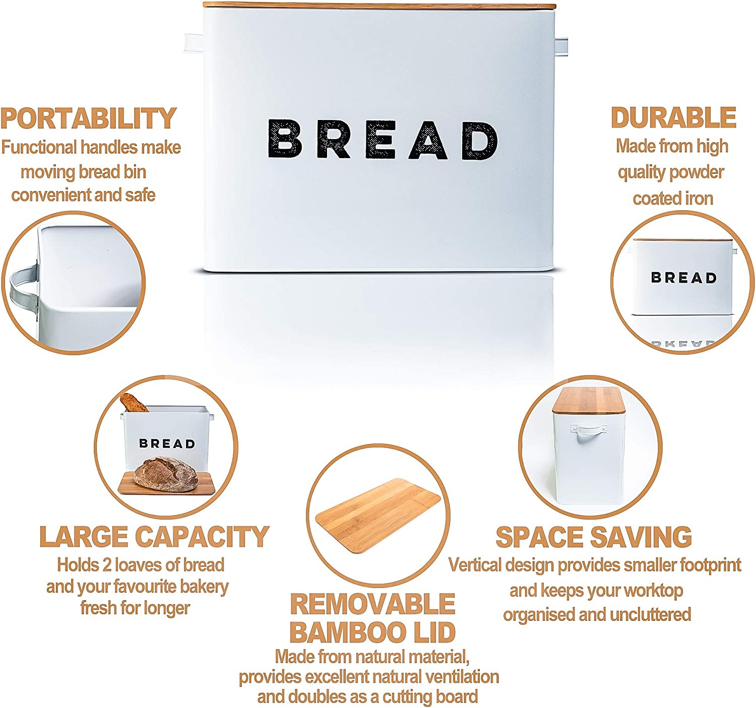 Large Vertical Bread Bin with Eco Bamboo Cutting Board Lid White