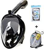 Ocean Innovate Full Face Snorkeling Mask By 180 Degree Full Seaview Snorkel Diving Mask With GoPro Mount–Dry Snorkel& Anti-Fog DesignUnderwater Breathing Mask For Adults& Youth–Phone Case Gift