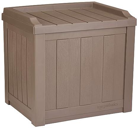 Amazon Com Amazonbasics 22 Gallon Resin Deck Storage Box Mocha Garden Outdoor