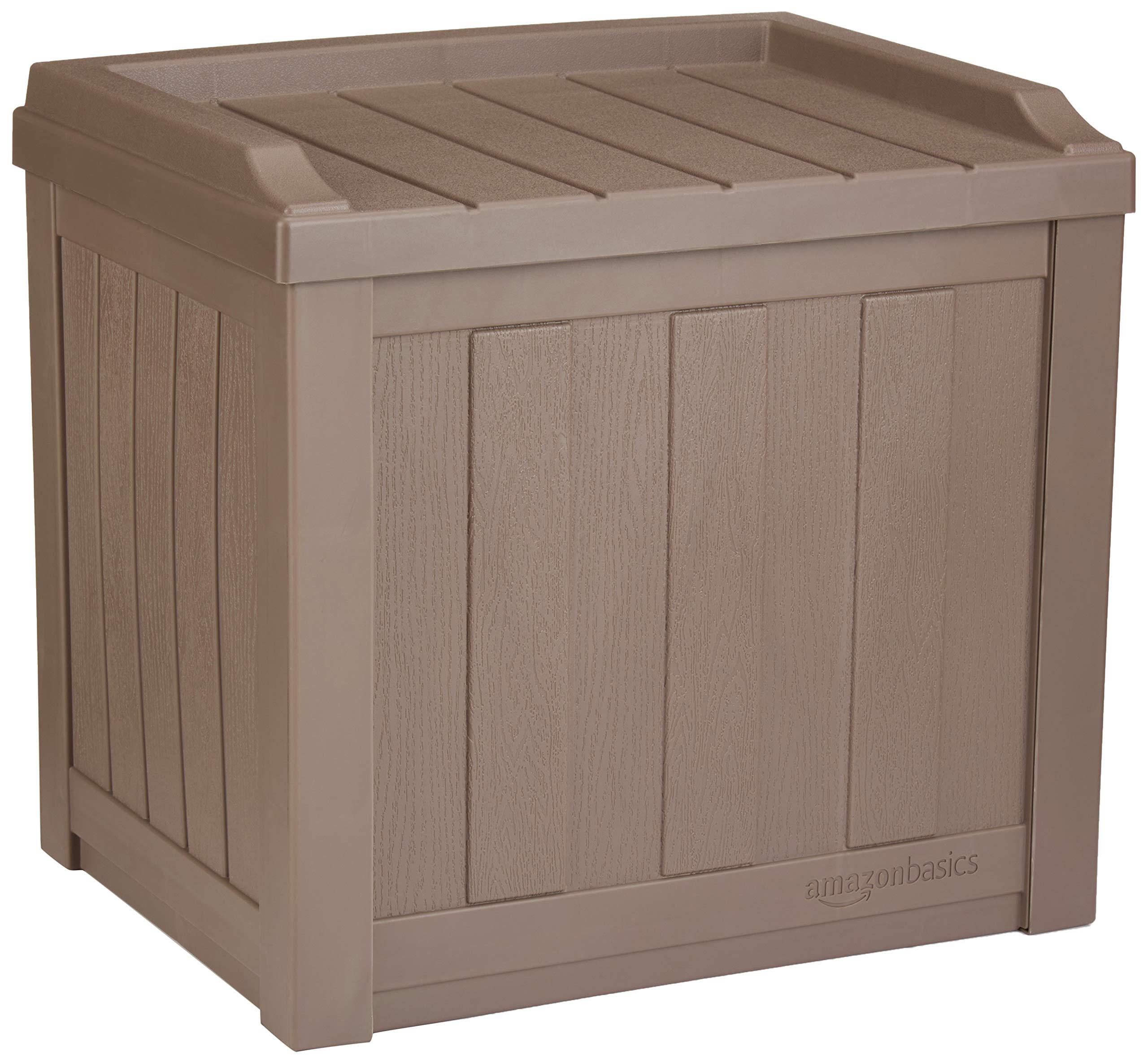 AmazonBasics 22-Gallon Resin Deck Storage Box, Mocha