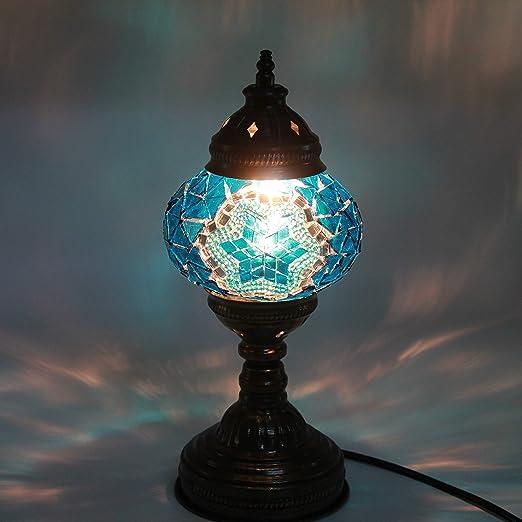 Mosaic lámpara de mesa, 11 pulgadas de altura, lámpara de ...