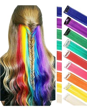 Estensioni per capelli arcobaleno Colorato Evidenziazioni per capelli  dritto Extension Clip In   On per bambole 24c1e0885b47