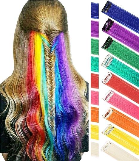 26beb13309 Estensioni per capelli arcobaleno Colorato Evidenziazioni per capelli  dritto Extension Clip In / On per bambole