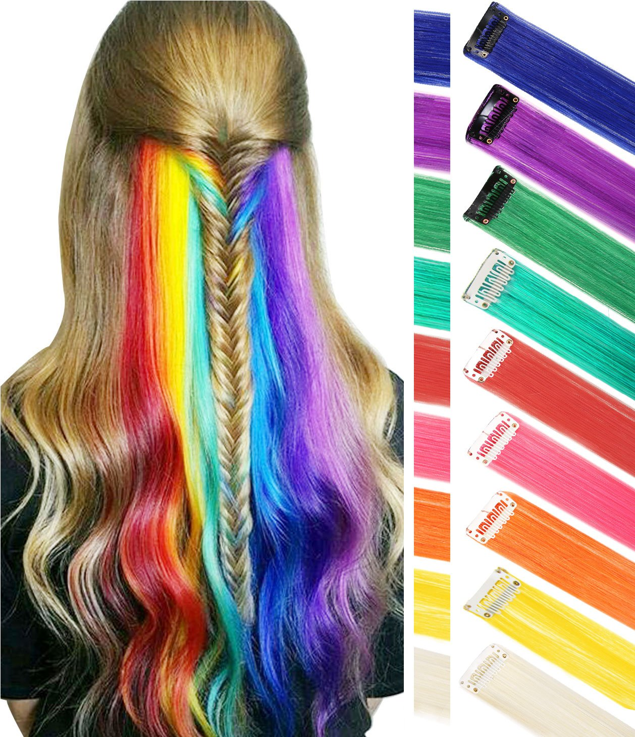 Wig Pieces for kids Clip In/On Colored Hair Extension For Amercian Girls And Dolls Fashion Hair Accessories 9PCS (Rainbow Color)