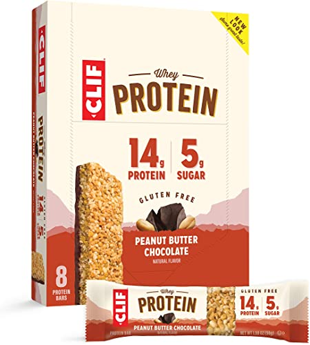 CLIF Whey Protein - Snack Bars - Peanut Butter Chocolate Flavor - 1.98 Ounce Complete Protein Bars, 8 Count