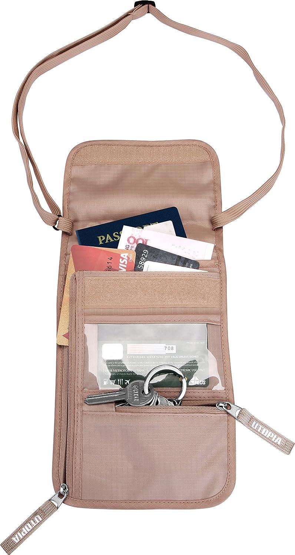 Utopia Home Travel Neck Wallet Pouch - RFID Blocking Sleeves - Passport Holder - Lightweight and Slim (Black) UH0491