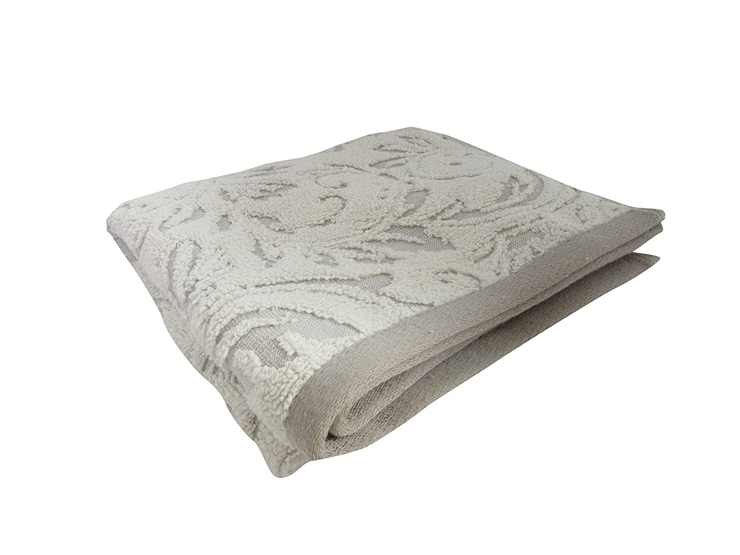 Blenheim Jacquard Towel 100% Extra Soft Turkish Cotton 650 GSM Thick Towelling With Floral Pattern in Grey Harwood Textiles
