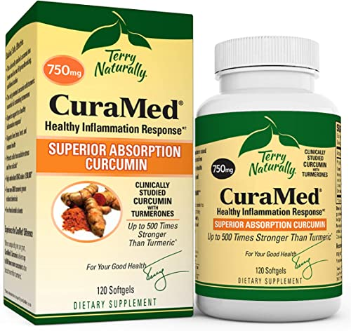 Terry Naturally CuraMed 750 mg – 120 Softgels – Superior Absorption BCM-95 Curcumin Supplement with Turmeric, Promotes Healthy Inflammation Response – Non-GMO, Gluten-Free, Halal – 120 Servings