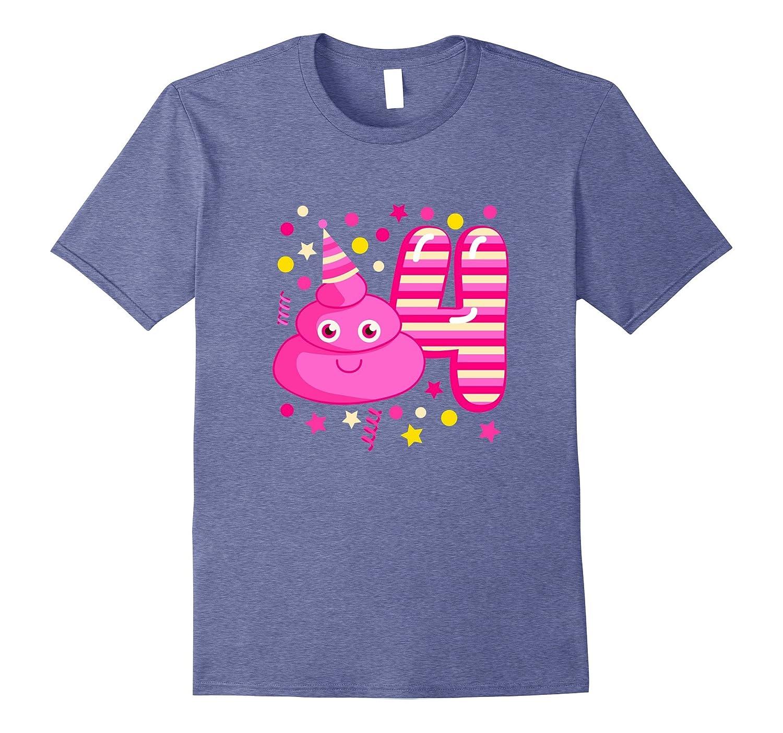 Kids Pink Emoji Birthday Shirt Four Years Old Funny Poop Tee CD