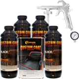 Custom Coat BLACK 4 Liter Urethane Spray-On Truck Bed Liner Kit with Custom Coat Spray Gun with Regulator with Regulator