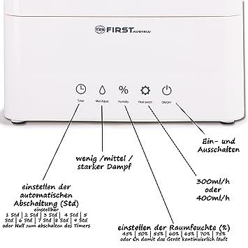 TZS First Austria - Humidificador eléctrico Ultrasónico 4,5 L 400ml/h display LED sensor táctil control con temporizador | Humidificación 40-75 % | muy ...