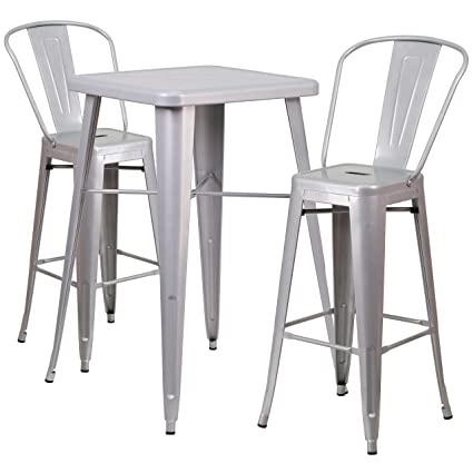 Flash Furniture 23.75u0027u0027 Square Silver Metal Indoor-Outdoor Bar Table Set with 2  sc 1 st  Amazon.com & Amazon.com: Flash Furniture 23.75u0027u0027 Square Silver Metal Indoor ...