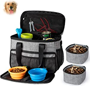Unicreate Dog Travel Bag for Dog -Weekend Tote Organizer Bag for Dogs Travel-Incudes 1xDog Pet Travel Bag,2xDog Food Carrier Bag,2xPet Silicone Collapsible Bowls