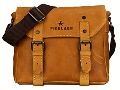 Amazon.com  Finelaer Women Vintage leather Crossover Crossbody Bag  Shoes decd9a19a970f