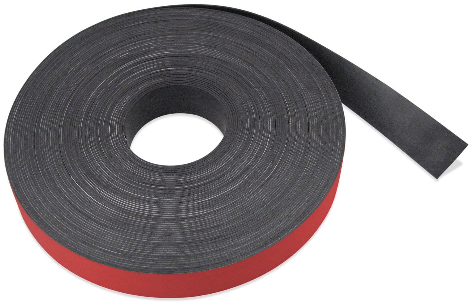 Flexible Magnet Strip with Red Vinyl Coating, 1/32'' Thick, 3'' Height, 50 Feet, 1 Roll