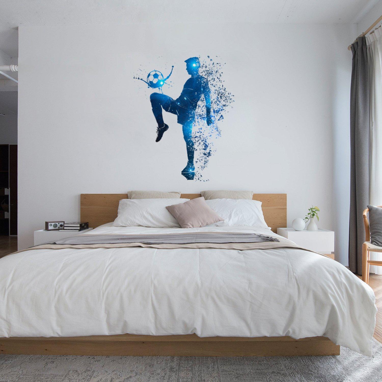 Galaxie Joueur de foot OLSR/® Galaxie Joueur de foot Stickers Muraux Salle de Jeu Enfants Chambre /Étanche Salon Chambre Autocollant Mural