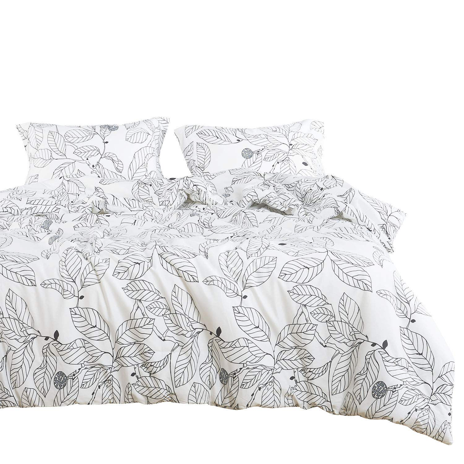 Wake In Cloud - Tree Duvet Cover Set, 100% Cotton Bedding, Black Branches Leaves Pattern Printed on White, with Zipper Closure (3pcs, Queen Size)