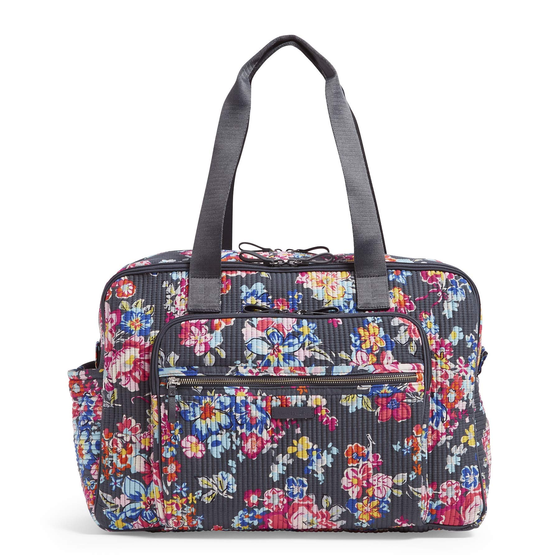 Vera Bradley Iconic Deluxe Weekender Travel Bag, Signature Cotton, Pretty Posies