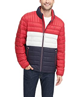 Tommy Hilfiger Mens Solid Puffer Jacket Red XLT Big & Tall