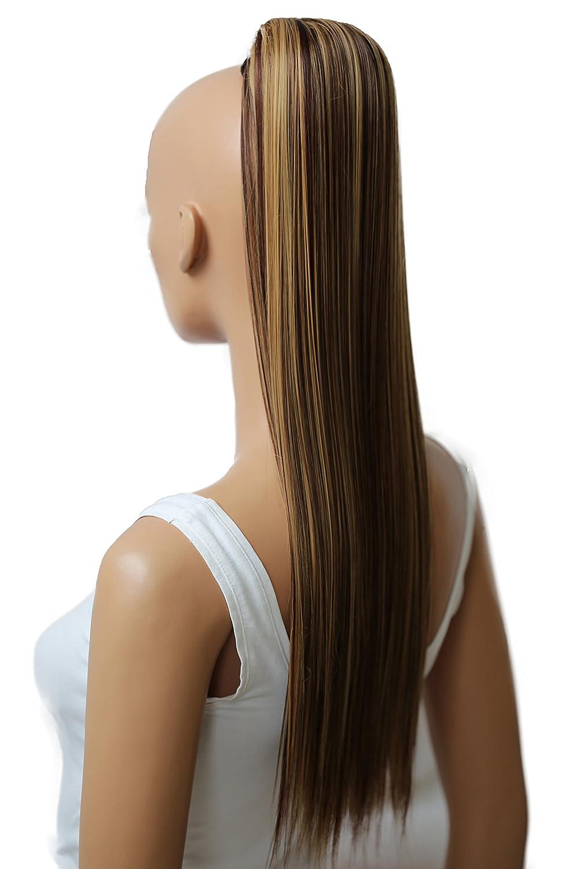 PRETTYSHOP Clip de en las extensiones postizos extensiones de cabello pelo liso largo hechos de fibras sintéticas resistentes al calor 70 cm marrón # 10 H160
