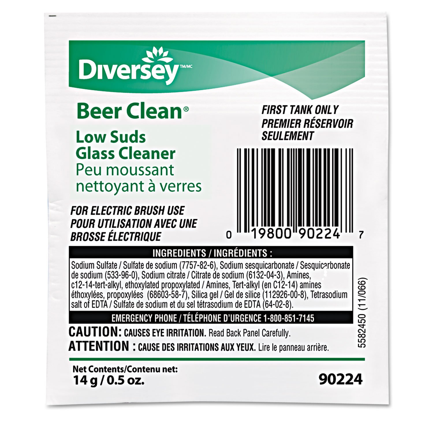 Diversey 990224 Beer Clean Glass Cleaner, Powder.5oz Packet (Case of 100)