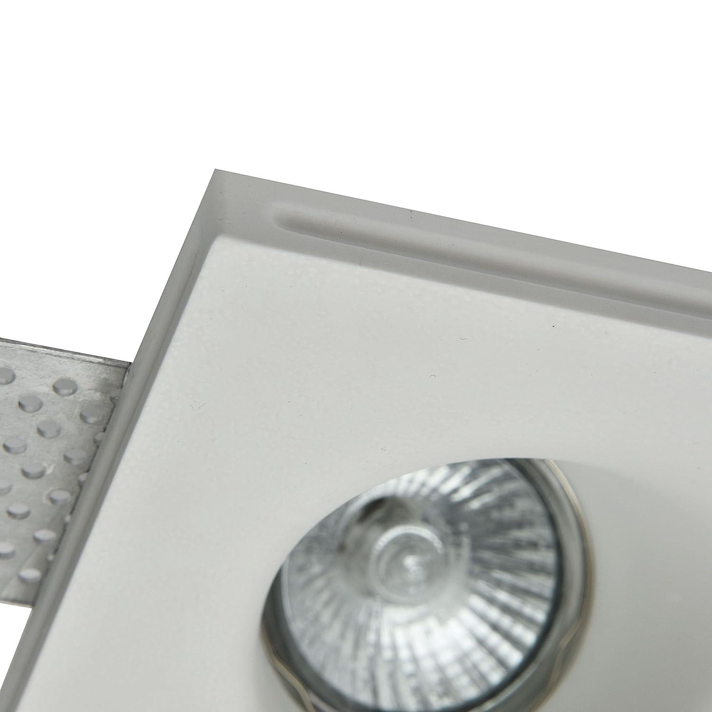 Armature en platre blanc lampe Style Moderne salle a manger Plafonnier,2 Spot encastrable peut etre peint sejour 1 ampoule non inclus,2x GU10 35w 220v la Salle de Bain le Bureau pour le Salon