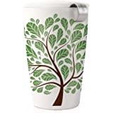 Tea Forté KATI Single Cup Loose Leaf Tea Brewing System, Insulated Ceramic Cup with Tea Infuser and Lid, Green Leaves - NEW Infuser Design