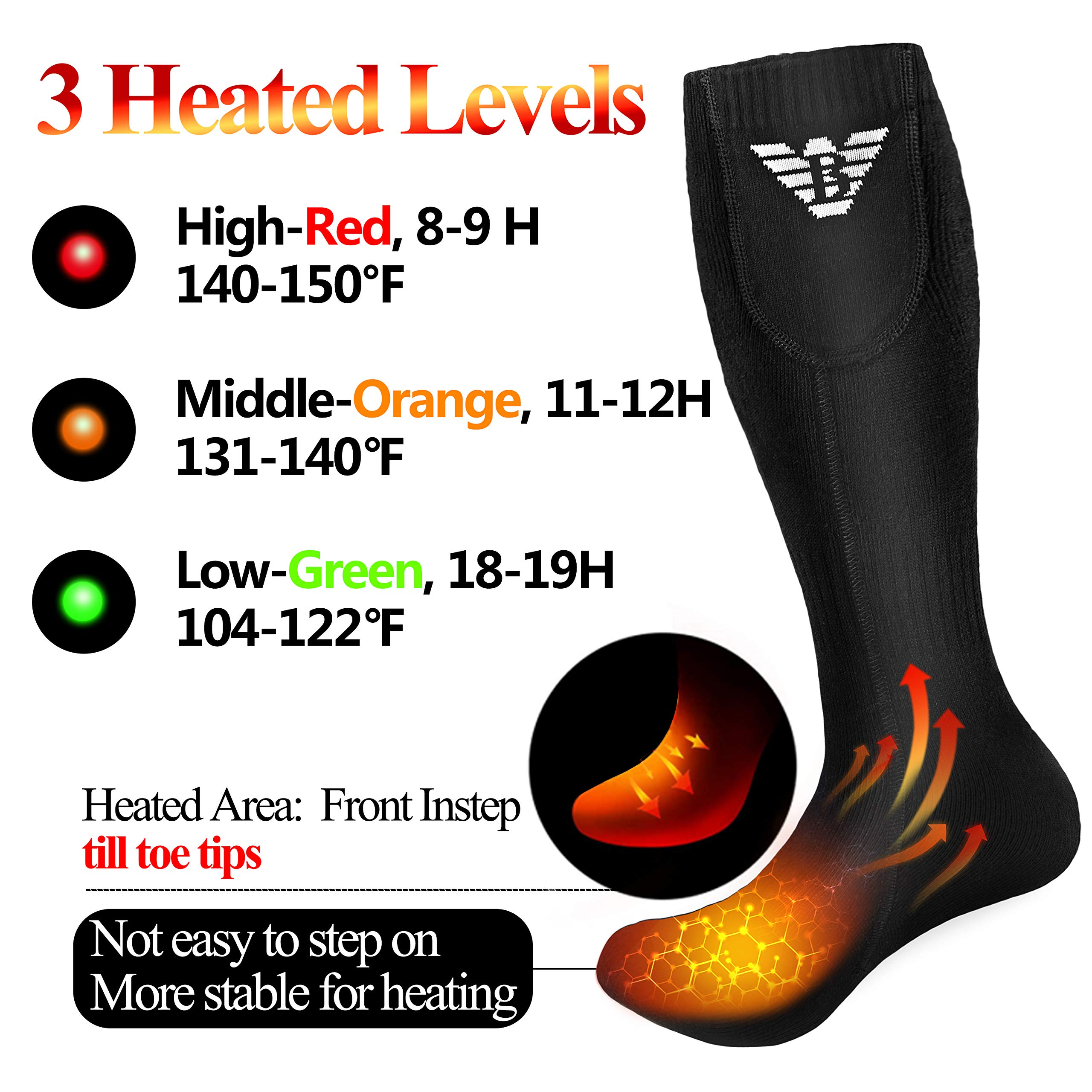 Heated Socks for Men Women - Electric Socks Rechargeable, Thermal Battery Heating Socks Winter Outdoor Motorcycle Golf Hunting Skiing
