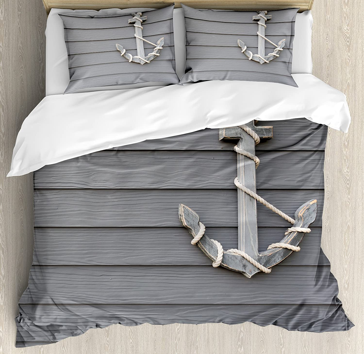 Ambesonne Anchor Duvet Cover Set, Wooden Anchor with The Rope on The Wall Antique Navy Nature Adventure Themed Art Work, Decorative 3 Piece Bedding Set with 2 Pillow Shams, Queen Size, Grey
