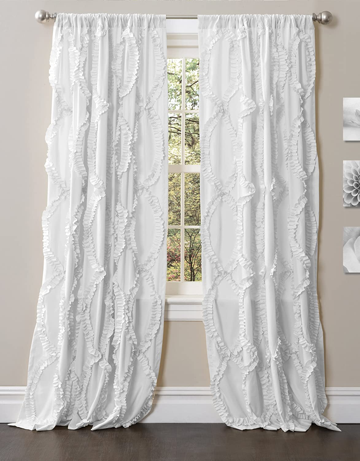 "Lush Decor Avon Window Curtain Panel for Living Room, Dining Room, Bedroom (Single Curtain), 84"" x 54"", White"
