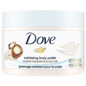 Dove Exfoliating Body Polish Body Scrub, Macadamia & Rice Milk, 10.5 oz