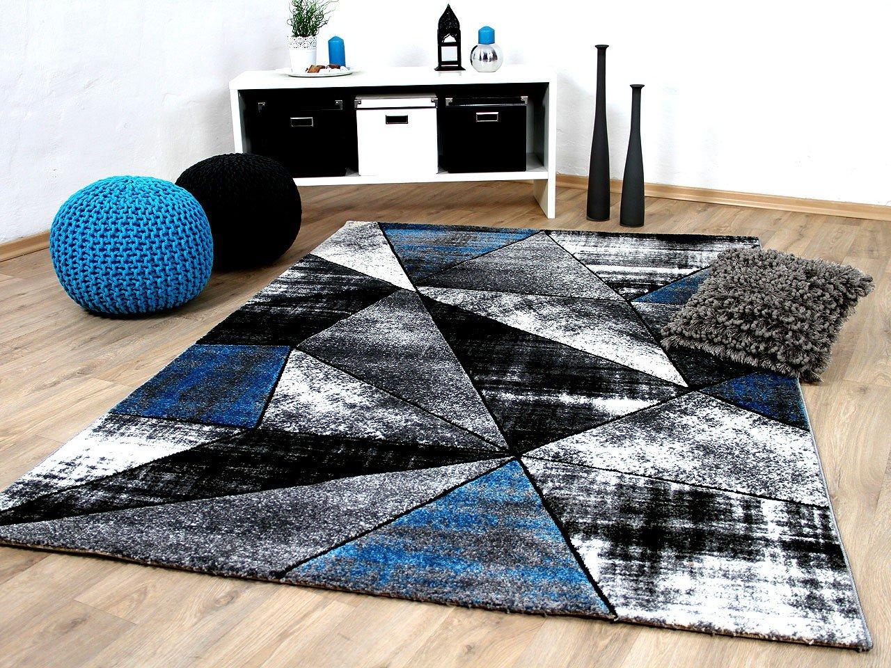 Designer Teppich Brilliant Grau Türkis Magic in 5 Größen