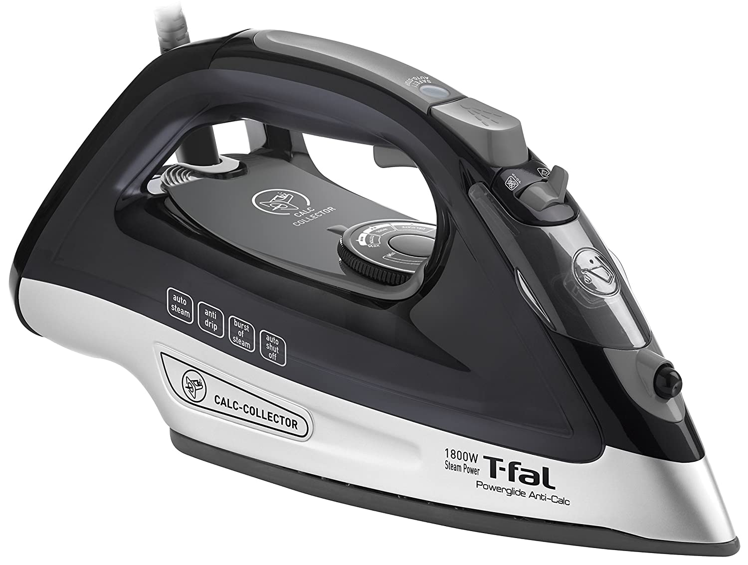 T-fal FV2640U0 Powerglide Anticalc Non-Stick and Scratch Resistant Durilium Ceramic Soleplate Steam Iron with Anti-Drip and Auto-off System, 1800-Watt, Black