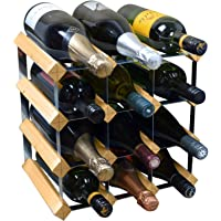 Harbour Housewares 12 Bottle Wine Rack - Fully Assembled - Light Wood