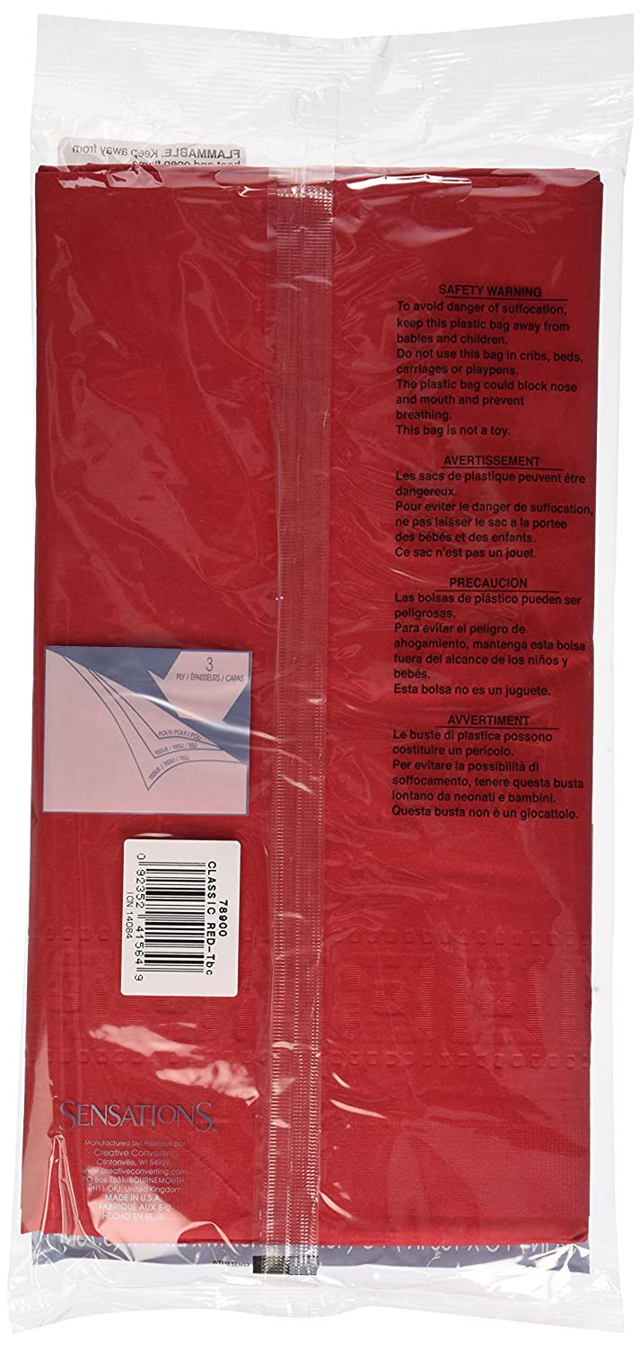 Sensations Tablecover Paper/Poly Red, 1 ct