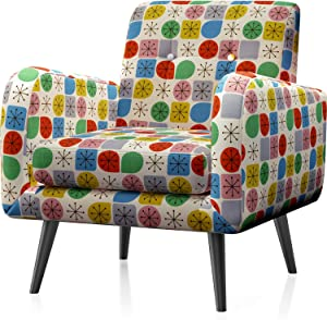 JustRoomy Mid Century Accent Chair Modern Tufted Fabric Arm Chair Upholstered Armchair with Removable Seat Cushion Black Tapered Leg Deep Seating Comfy Bedroom Living Room Reading Chair, Colorful Dots