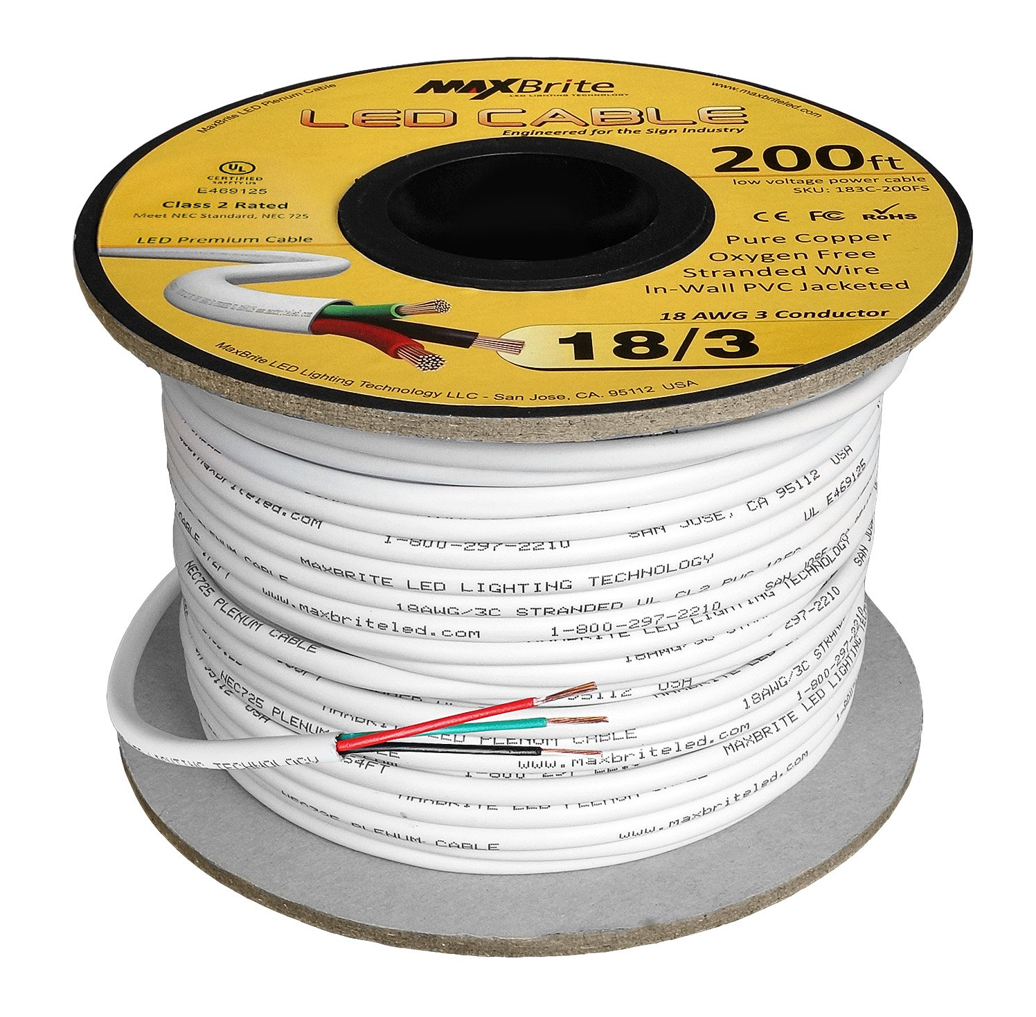 Amazon.com: 18AWG Low Voltage LED Cable 3 Conductor Jacketed In-Wall ...