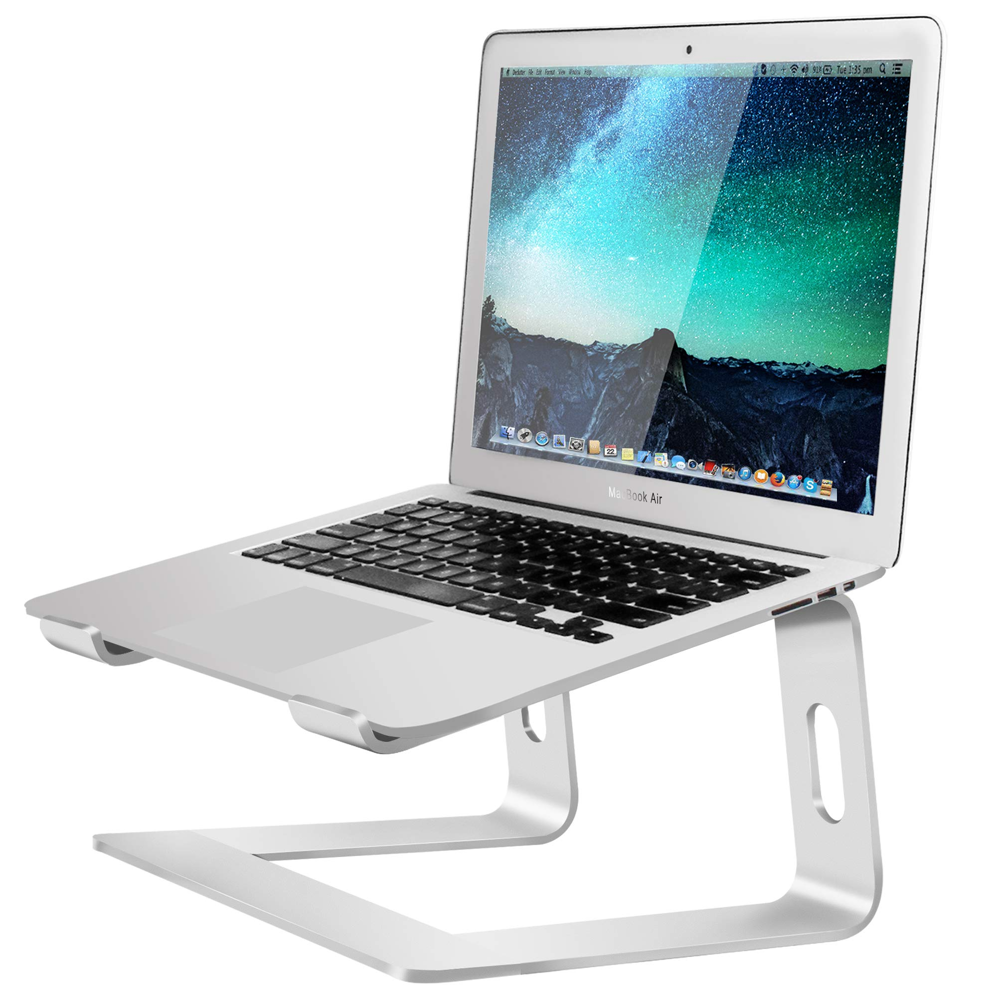 Soundance Aluminum Laptop Stand for Desk Compatible with Mac MacBook Pro Air Apple Notebook, Portable Holder Ergonomic Elevator Metal Riser for 10 to 15.6 inch PC Desktop Computer, LS1 Silver by Soundance