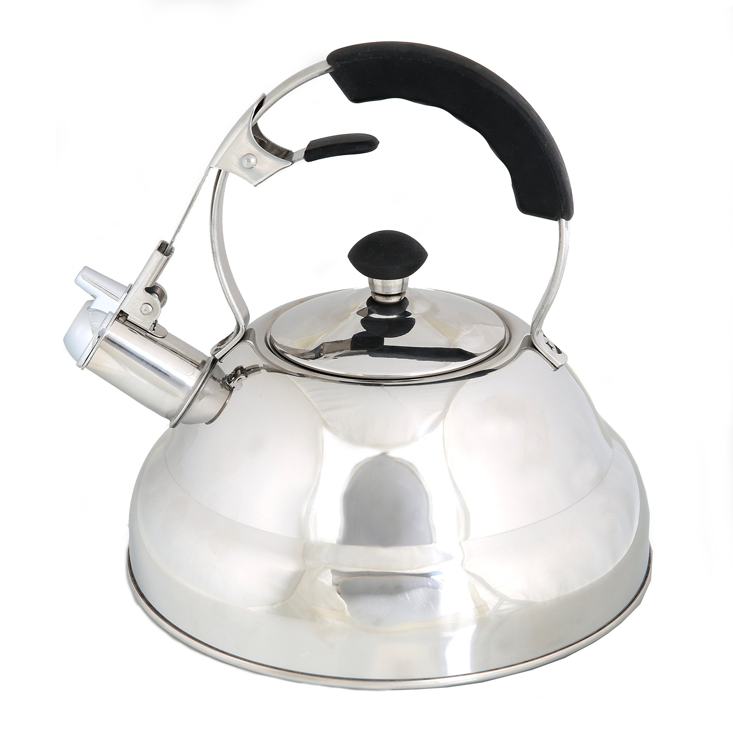 Whistling Stove Top Kettle Teapot with Layered Capsule Bottom, Silicone Handle, Stainless Steel Silver Mirror Finish Tea Pot, 2.75 Quart by Foodie Aid