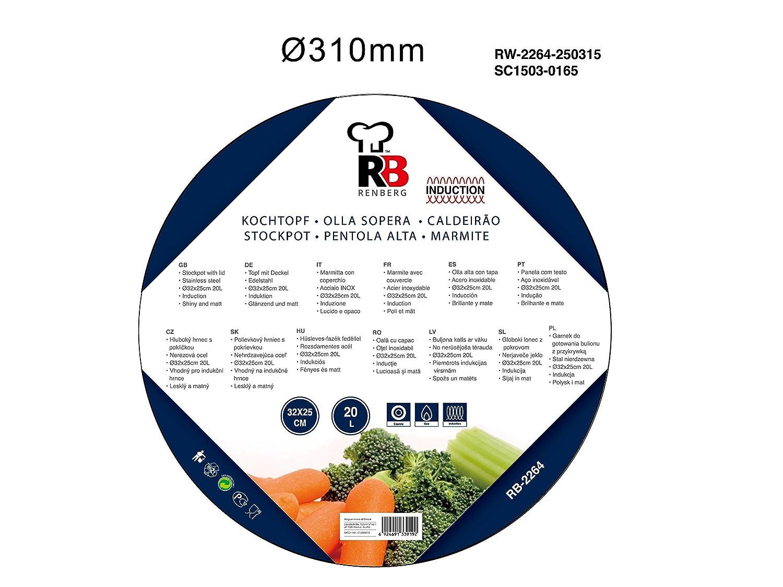 Renberg Olla 32X25CM 20L C/T Alexander Acer.INOX, Diámetro 32 cm - 20 L: Amazon.es: Hogar