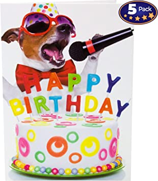 Amazon Com Beacon Streets Singing Dog Happy Birthday Cards 5 Pack This Pup Knows How To Get Down Party Premium Greeting Card Envelopes Value Set Great Funny Gift For Kids