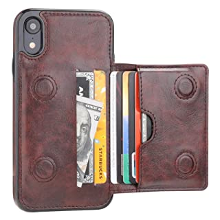KIHUWEY iPhone XR Wallet Case Credit Card Holder, Premium Leather Kickstand Durable Shockproof Protective Cover iPhone XR 6.1 Inch(Brown)